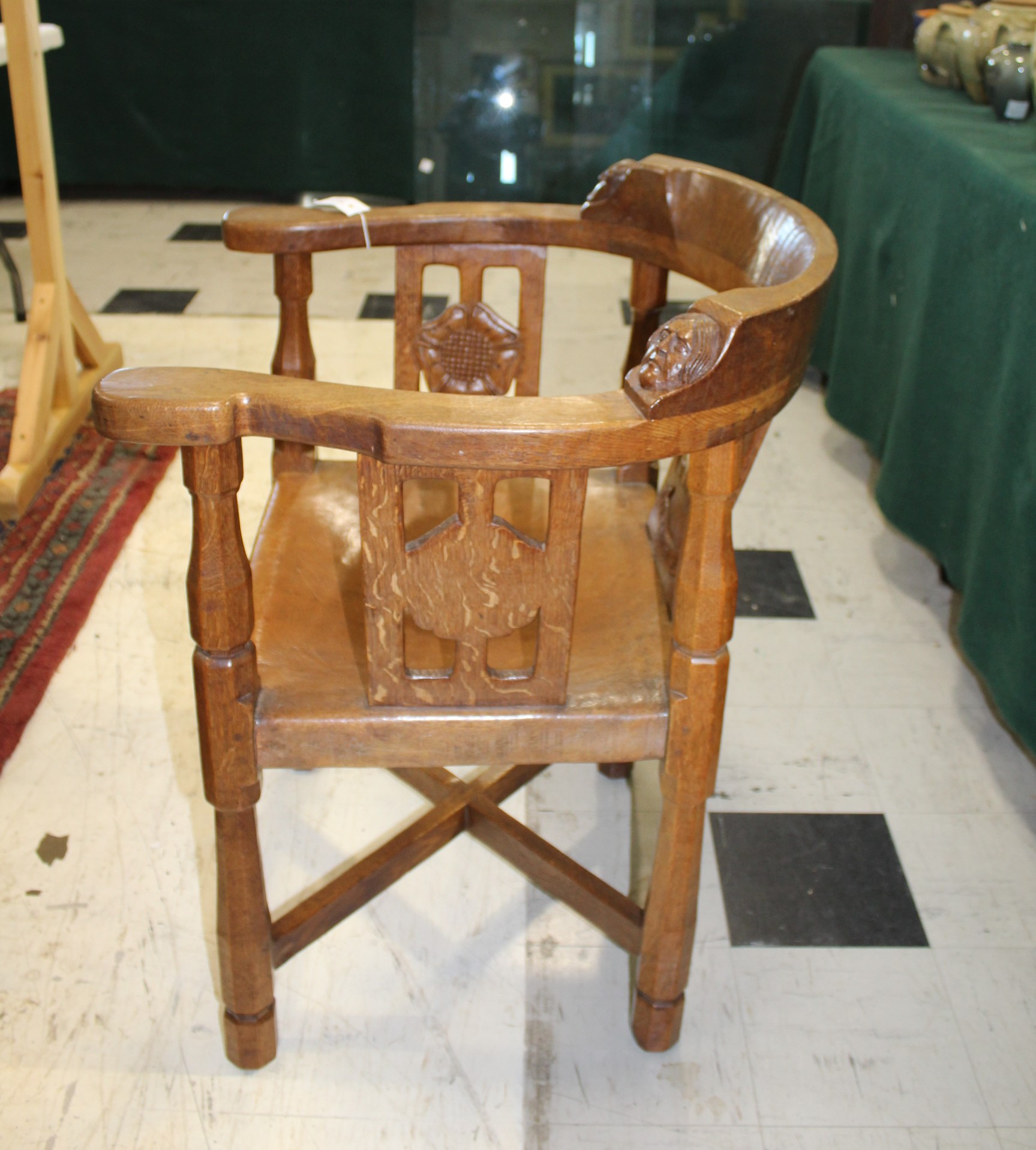 ROBERT THOMPSON OF KILBURN - MOUSEMAN MONKS CHAIR a circa 1920s/1930s oak Monk's armchair with a - Image 10 of 27