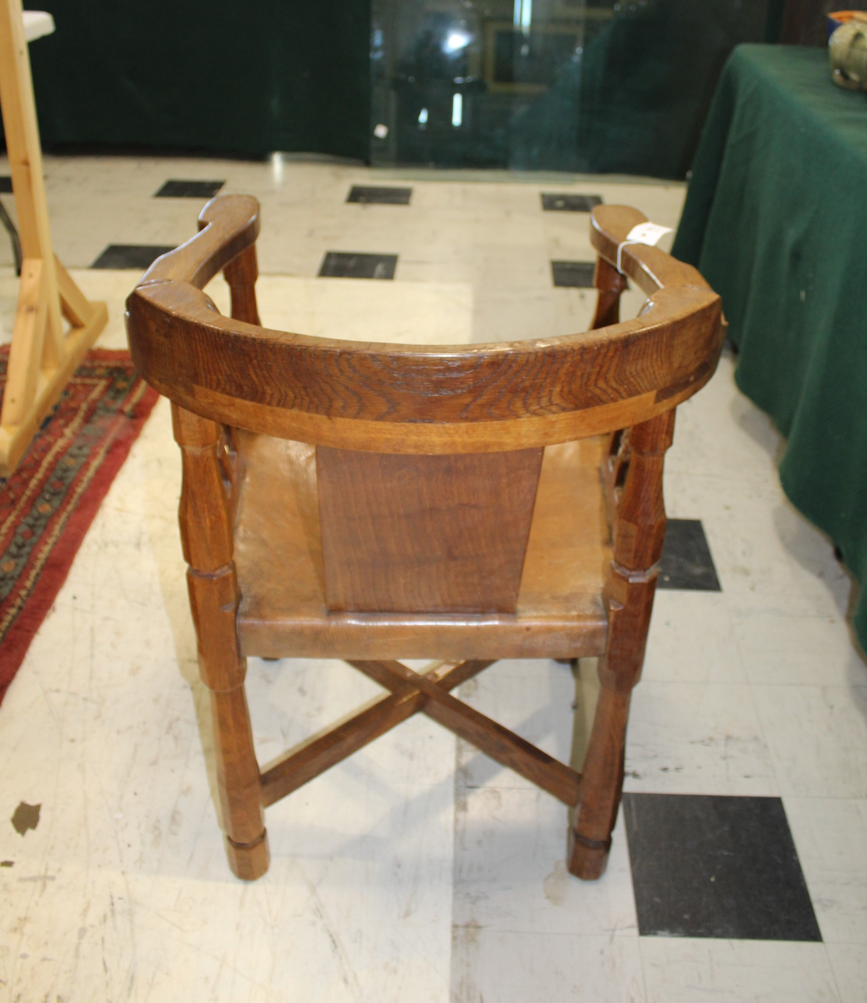 ROBERT THOMPSON OF KILBURN - MOUSEMAN MONKS CHAIR a circa 1920s/1930s oak Monk's armchair with a - Image 8 of 27