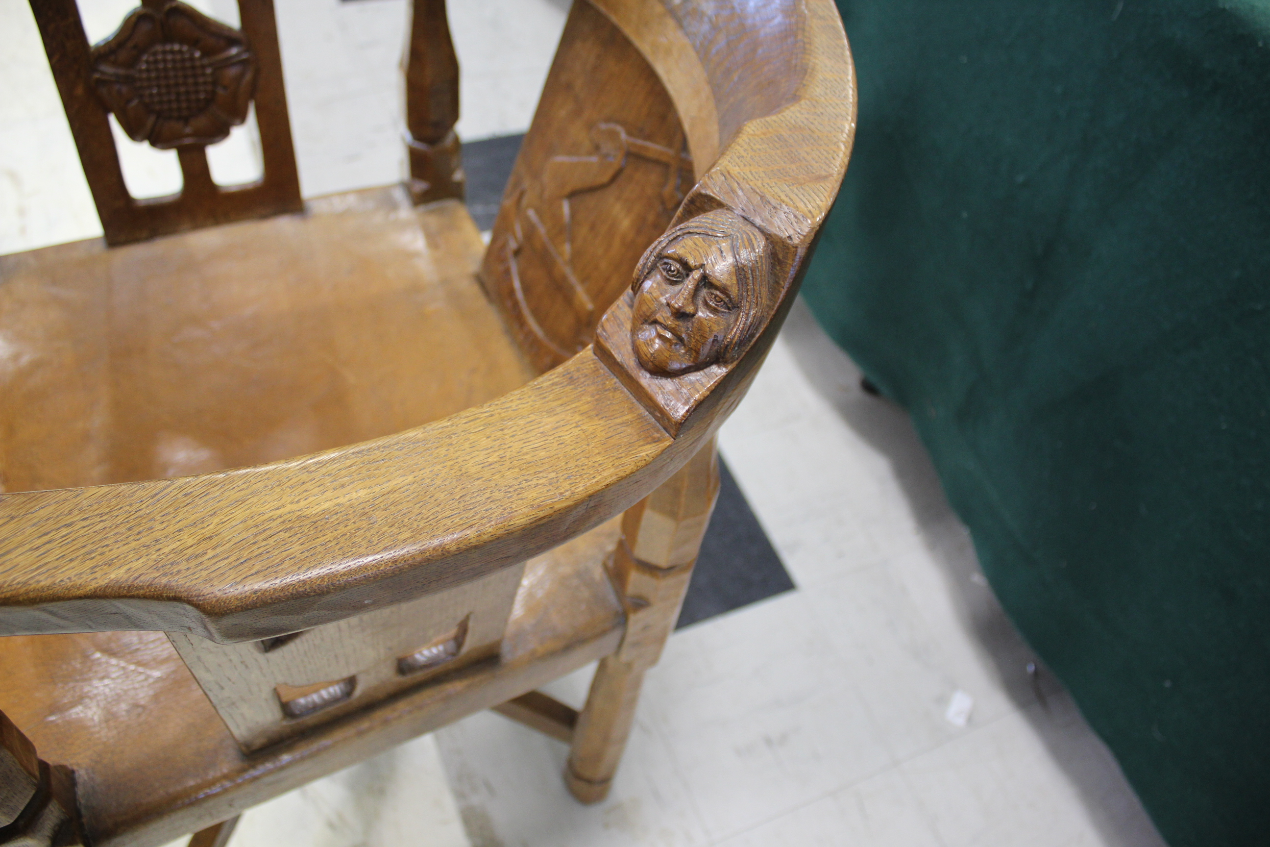 ROBERT THOMPSON OF KILBURN - MOUSEMAN MONKS CHAIR a circa 1920s/1930s oak Monk's armchair with a - Image 11 of 27