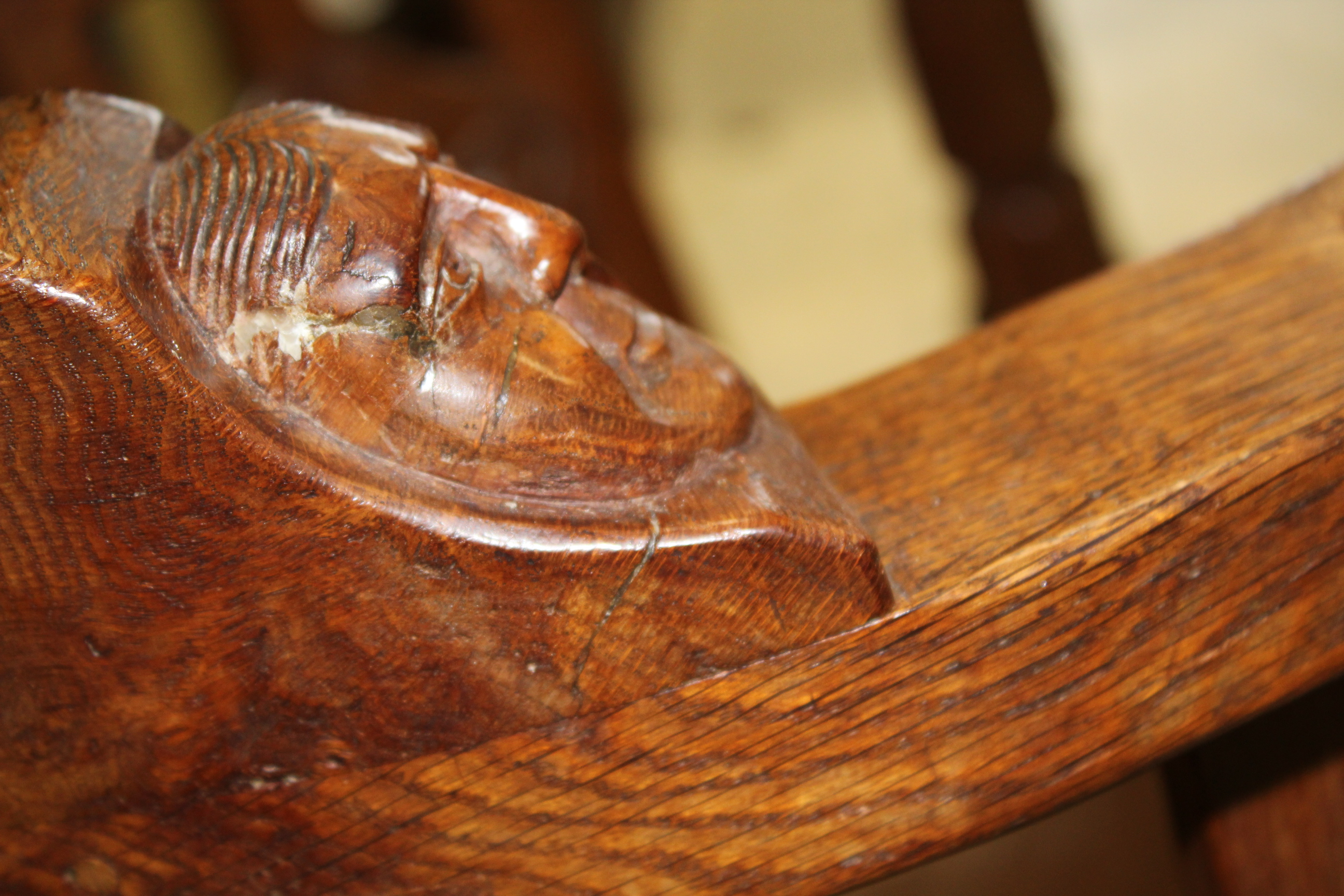ROBERT THOMPSON OF KILBURN - MOUSEMAN MONKS CHAIR a circa 1920s/1930s oak Monk's armchair with a - Image 27 of 27