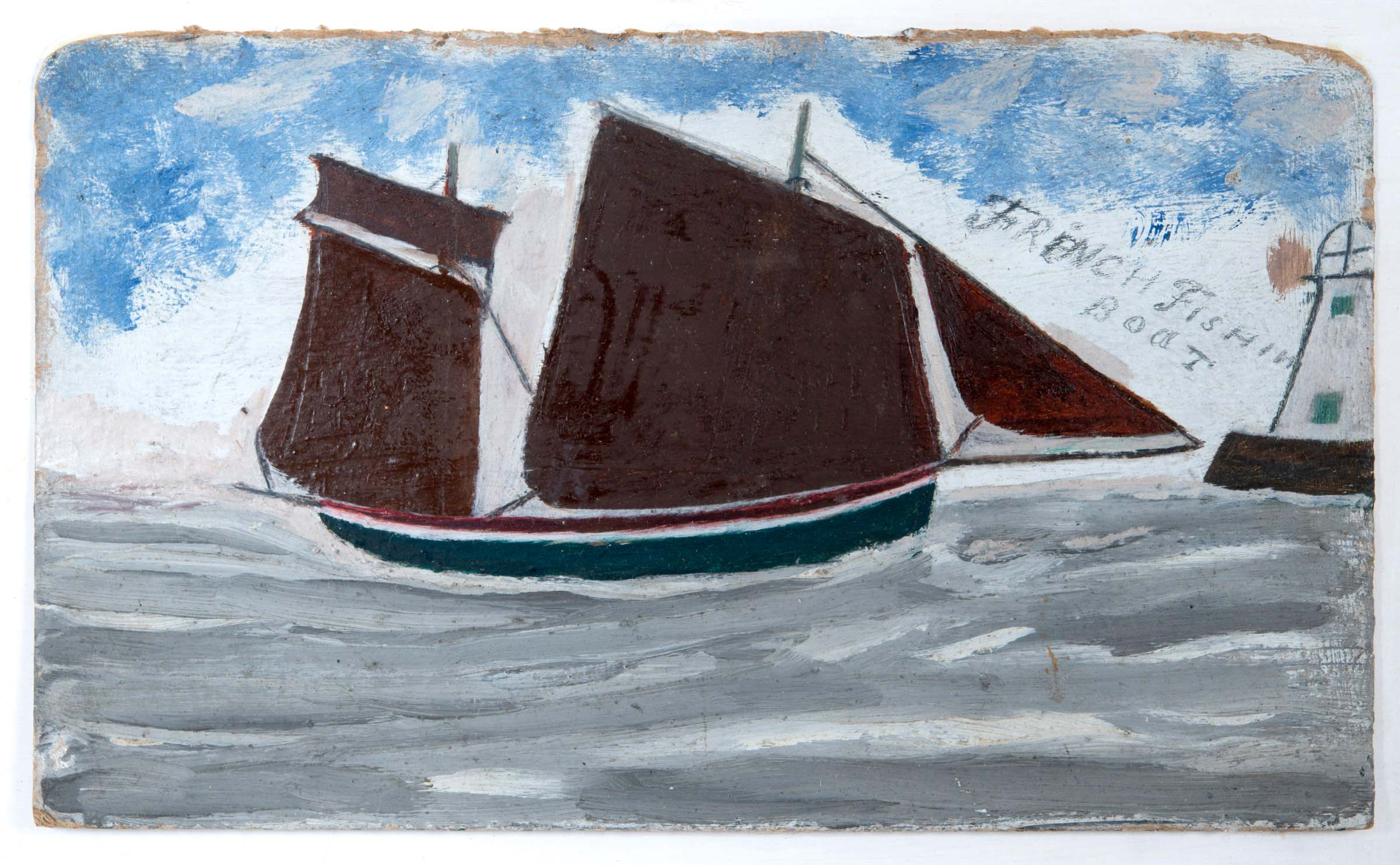 Lot 1963 - ALFRED WALLIS (1855-1942) FRENCH FISHIN BOAT [sic] Inscribed with title, oil on card 17.5 x 29.5cm