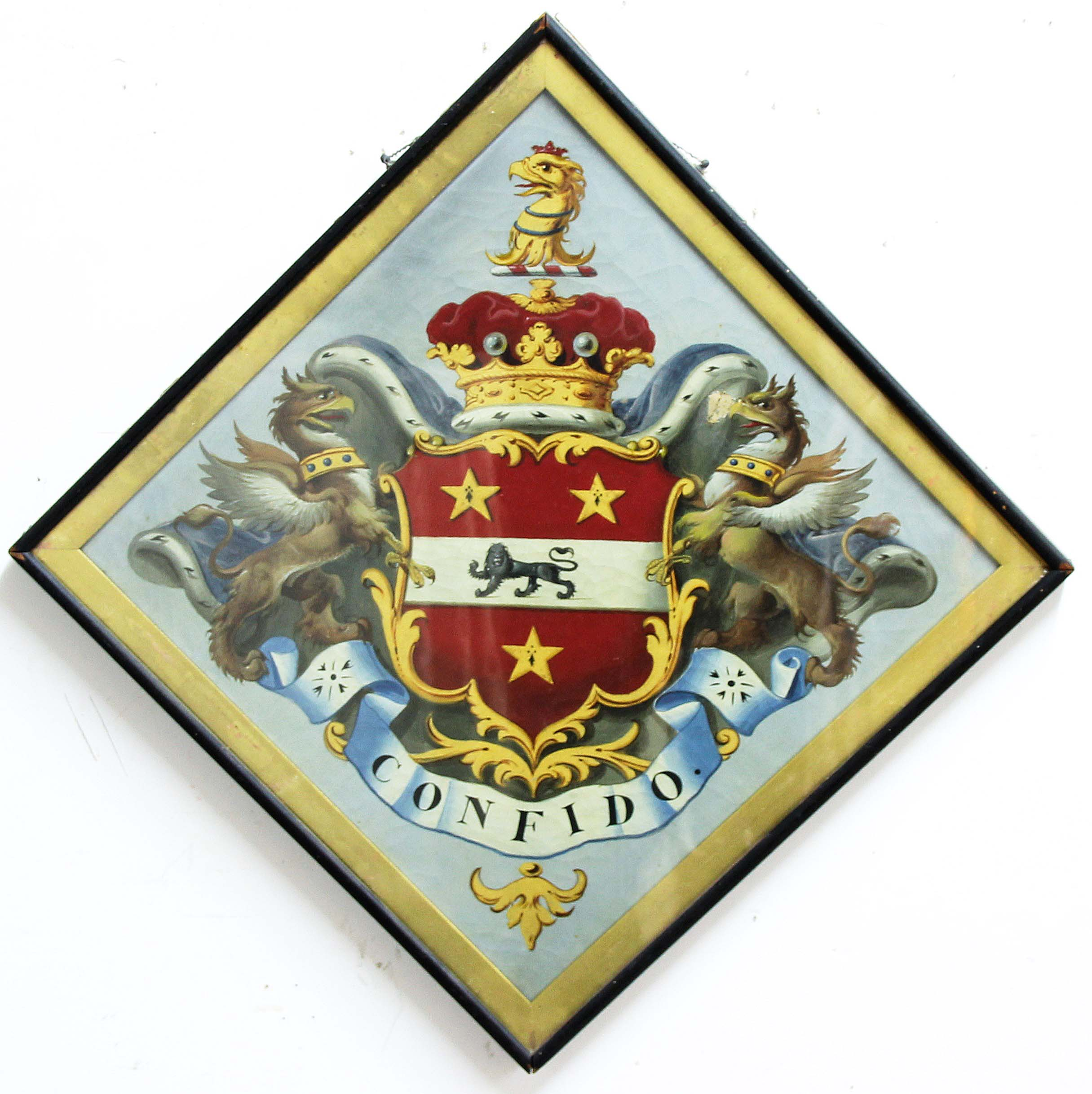 Lot 2070 - 19TH CENTURY HATCHMENT, Crest of a black lion beneath two gold stars and above a single star,