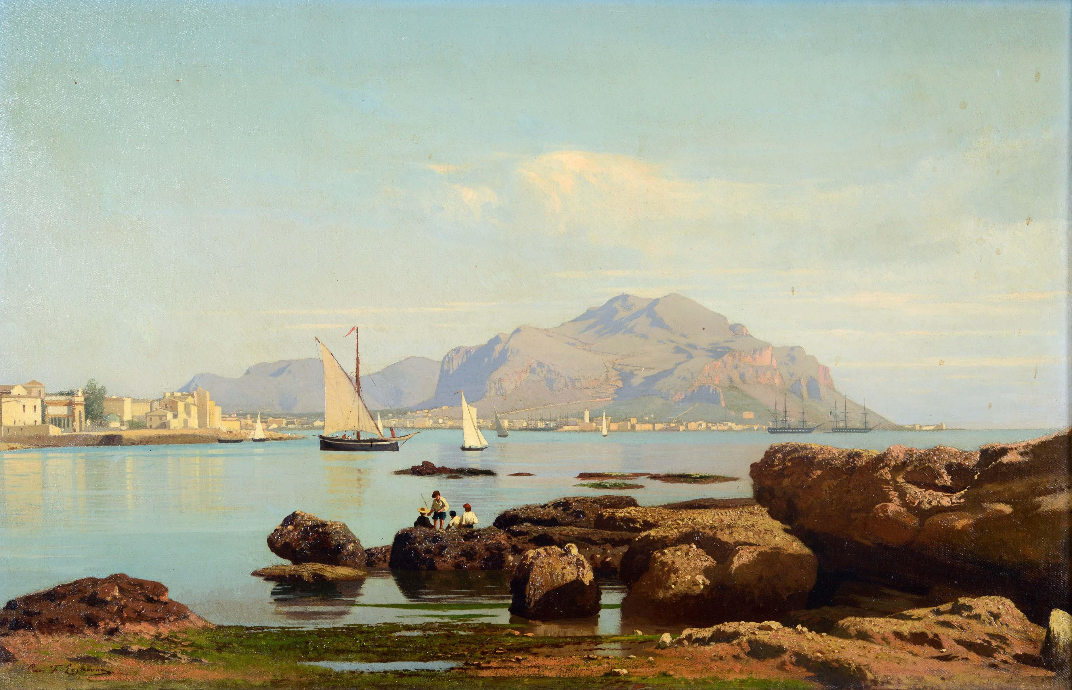 FRANCESCO LOJACONO (1838-1915) MONTE PELLEGRINO, BAY OF PALERMO, SICILY Signed, oil on canvas 48.5 x