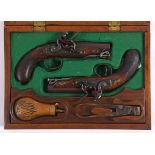 A CASED PAIR OF BLANCH FLINTLOCK TRAVELLING PISTOLS. A pair of John Blanch of London travelling or