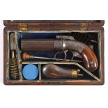 A CASED PEPPERBOX PISTOL - ALLEN'S PATENT a 6 shot pepperbox percussion pistol, with engraved action