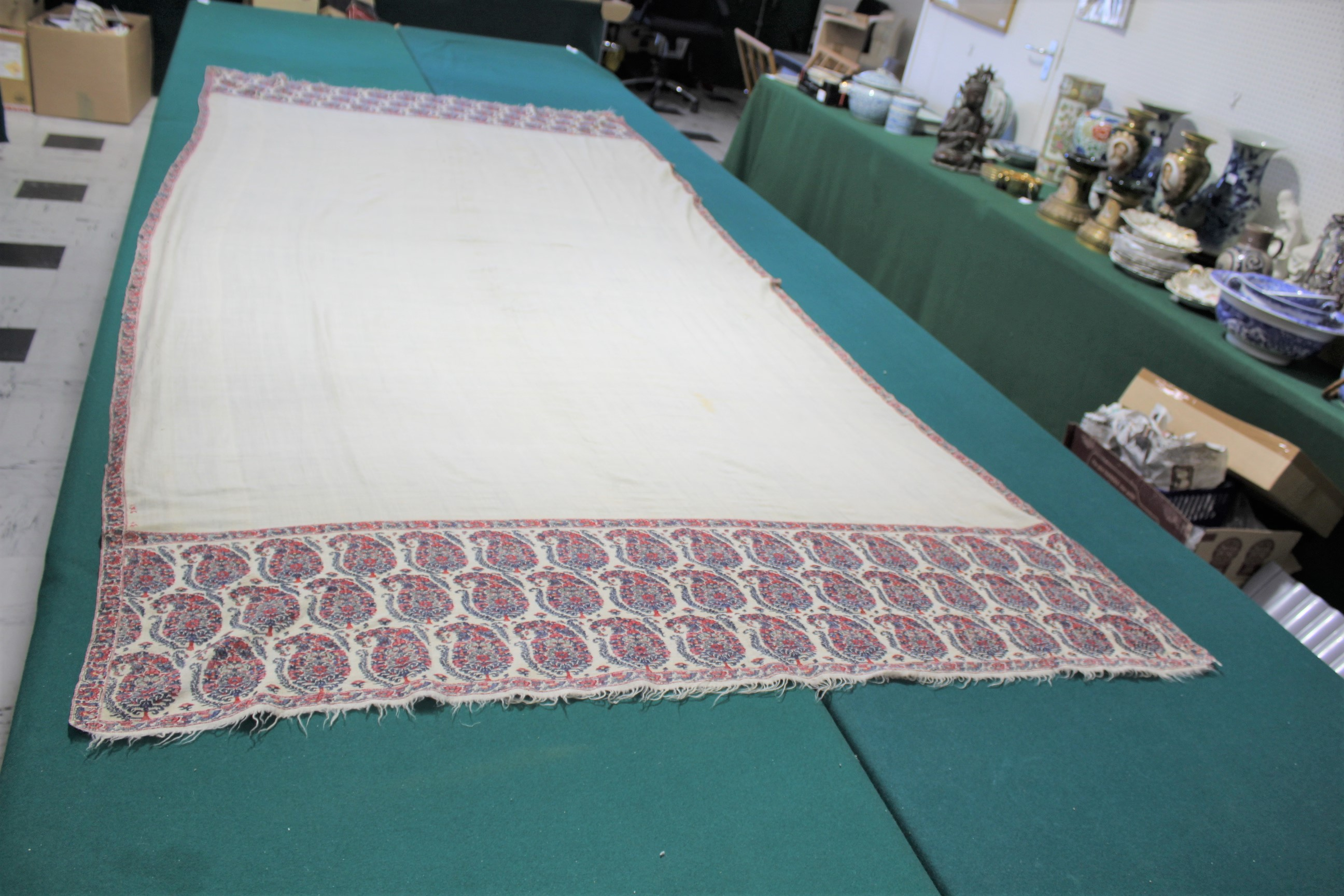 Lot 1858 - 19THC PAISLEY SHAWL a mid 19thc paisley wool cashmere shawl (264cms by 126cms), and also with a fine