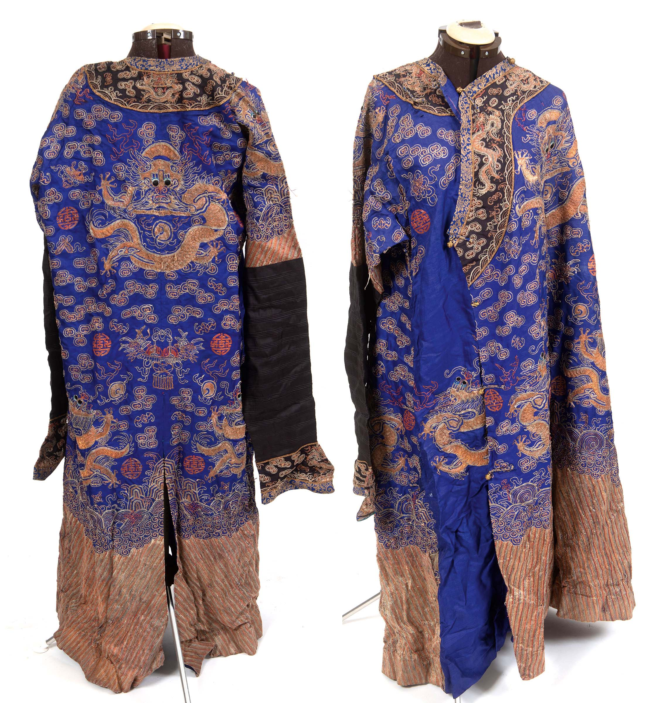 Lot 1889 - 19THC CHINESE DRAGON ROBE a late 19thc unlined blue silk Chinese Dragon robe, worked with couched