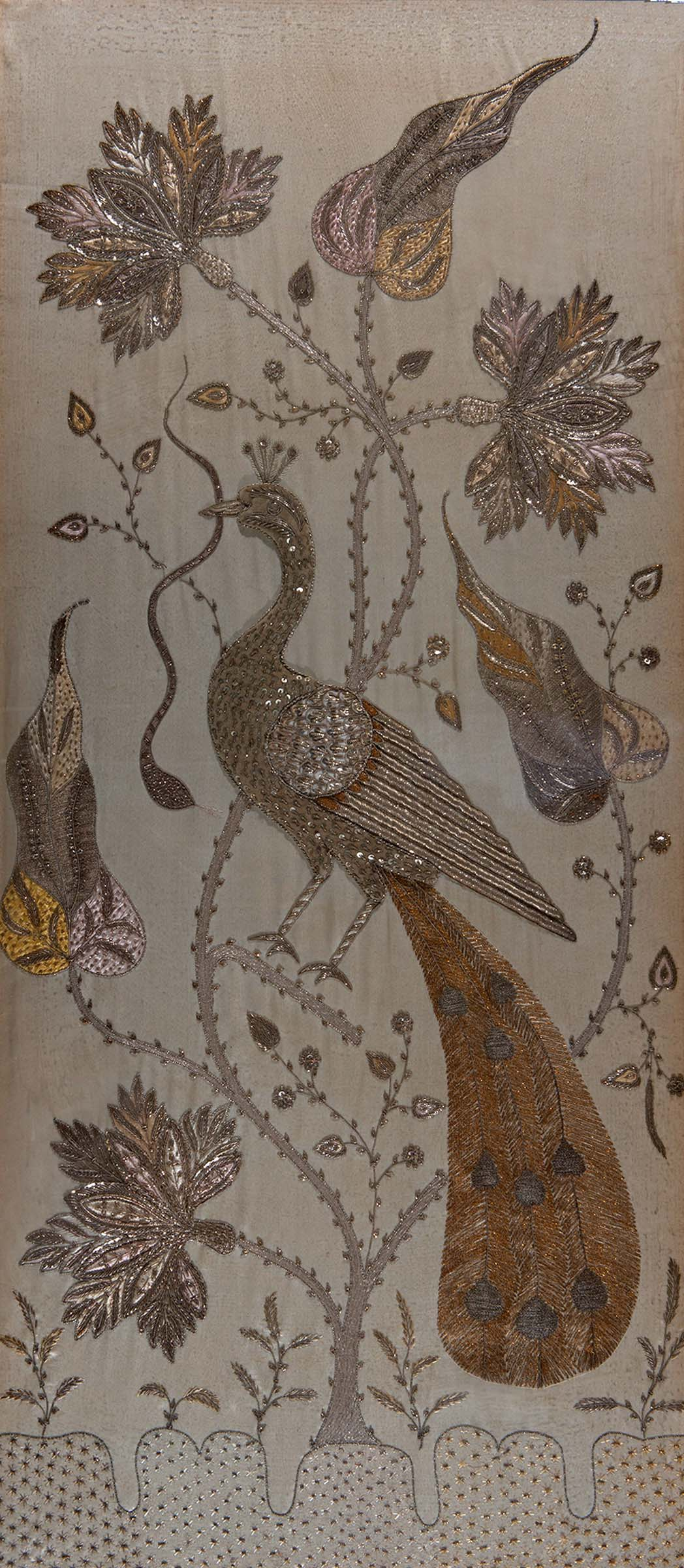 Lot 1876 - LARGE INDIAN FRAMED EMBROIDERED PANEL a Zardozi embroidered panel with depictions of a Peacock,