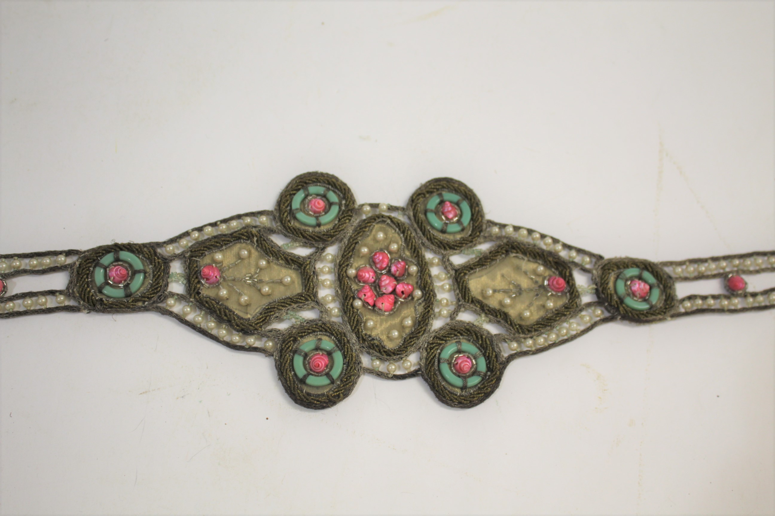 Lot 1888 - EARLY 20THC EMBROIDERED SHELL BELT an interesting early 20thc belt made from embroidered lame