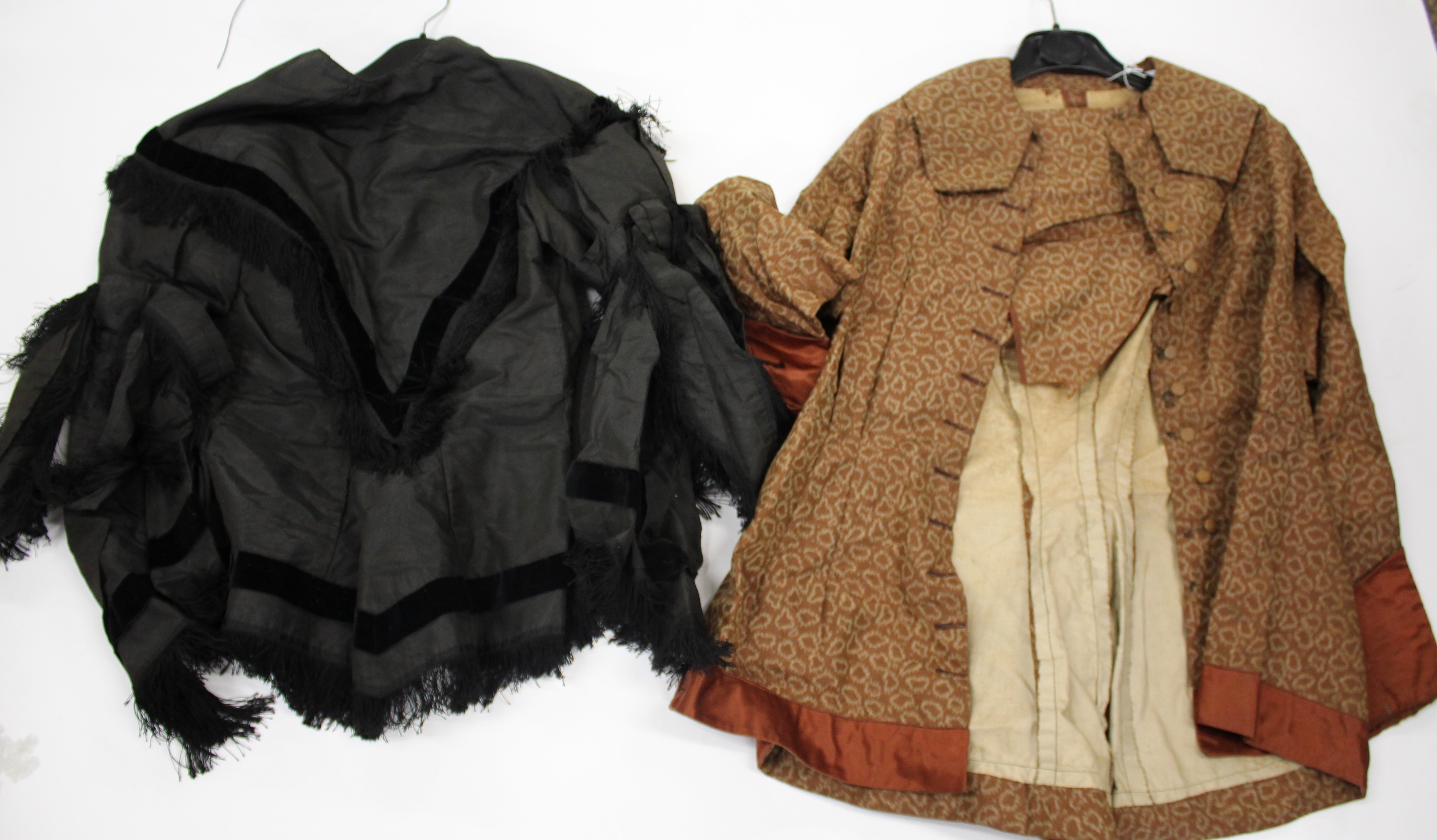 Lot 1893 - 19THC CLOTHING & OTHER ITEMS including a 19thc black silk blouse, a 19thc brown patterned silk