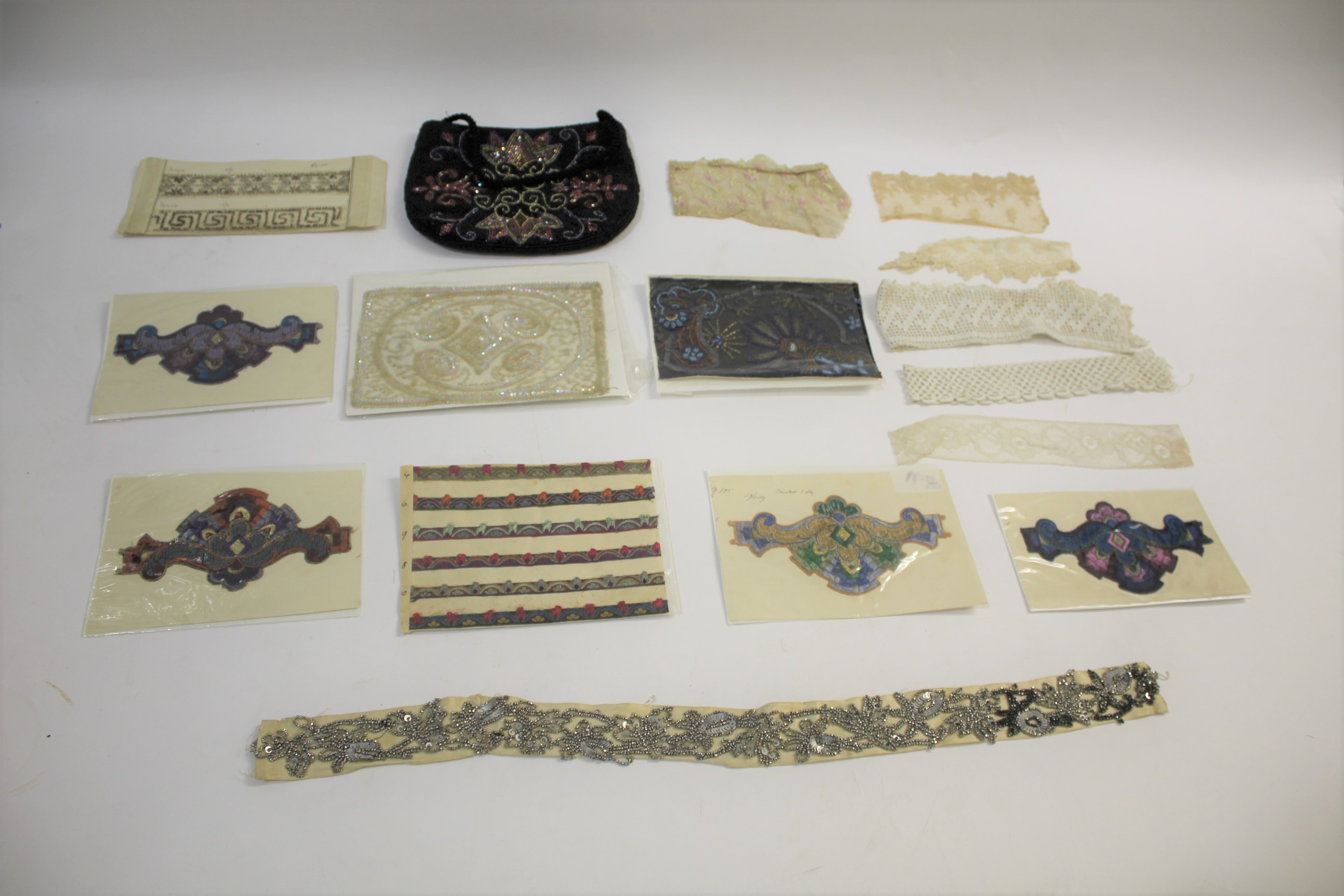 Lot 1886 - COLLECTION OF BEAD, SEQUIN, CUT STEEL EDGINGS a collection of late 19th and early 20thc bead,