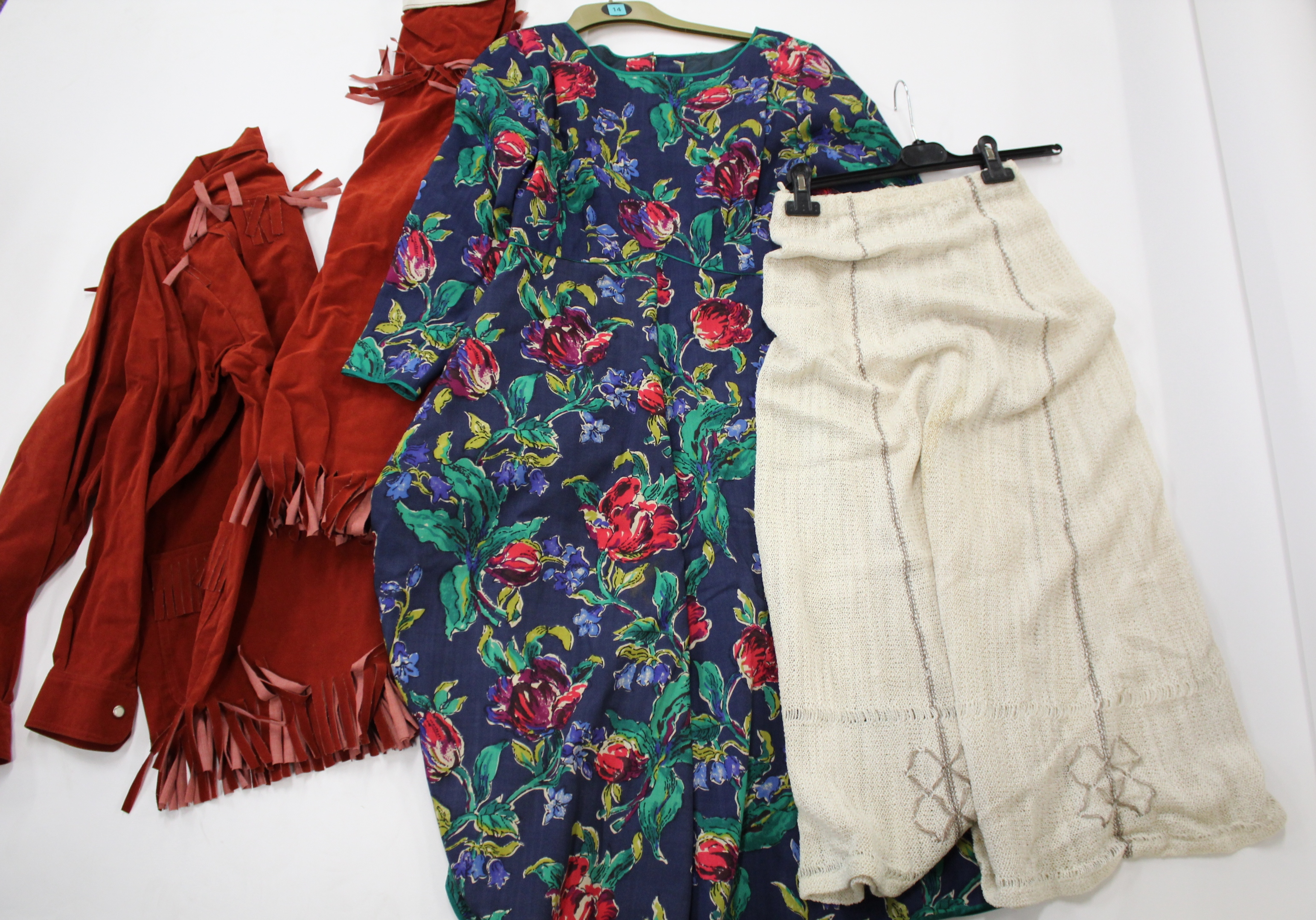 Lot 1903 - VINTAGE CLOTHING including a 1970's Miss Mouse faux suede rust coloured fringed jacket and