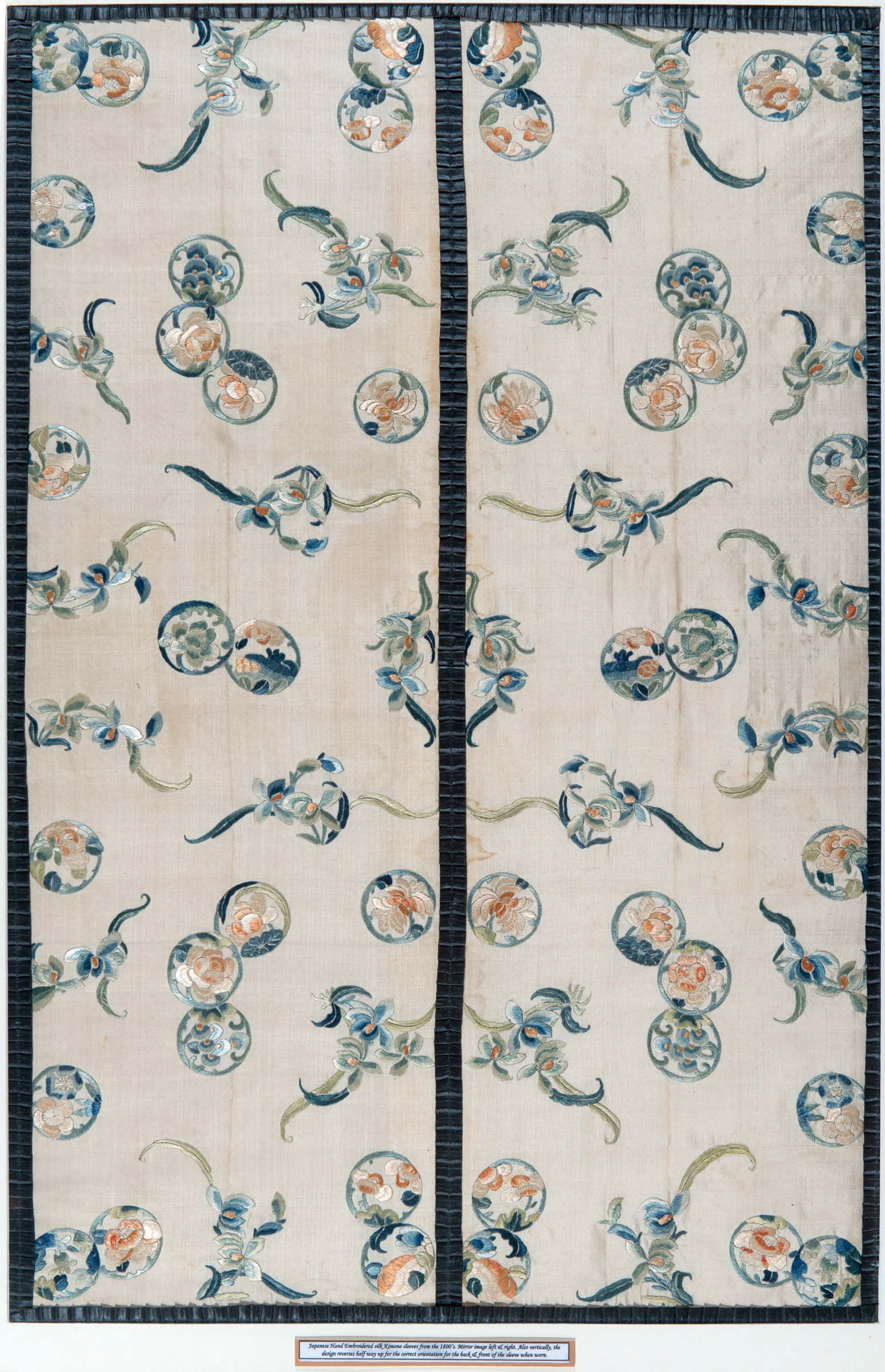 Lot 1906 - PAIR OF JAPANESE SILK EMBROIDERED SLEEVES a pair of framed silk sleeves from a Kimono, embroidered