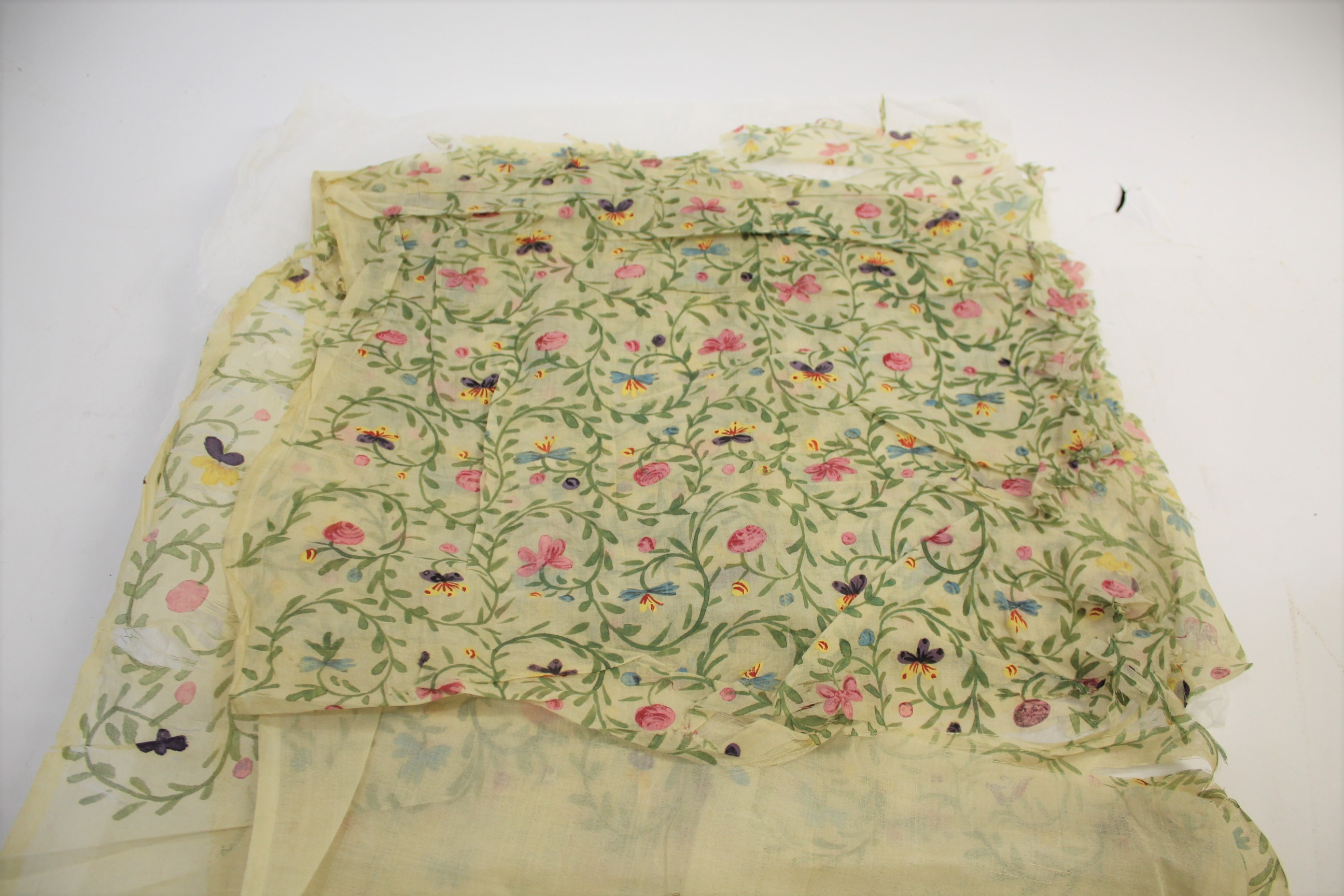 Lot 1871 - QTY OF 19THC FABRIC including organza and metallic spotted muslin, a fragile length of cream silk