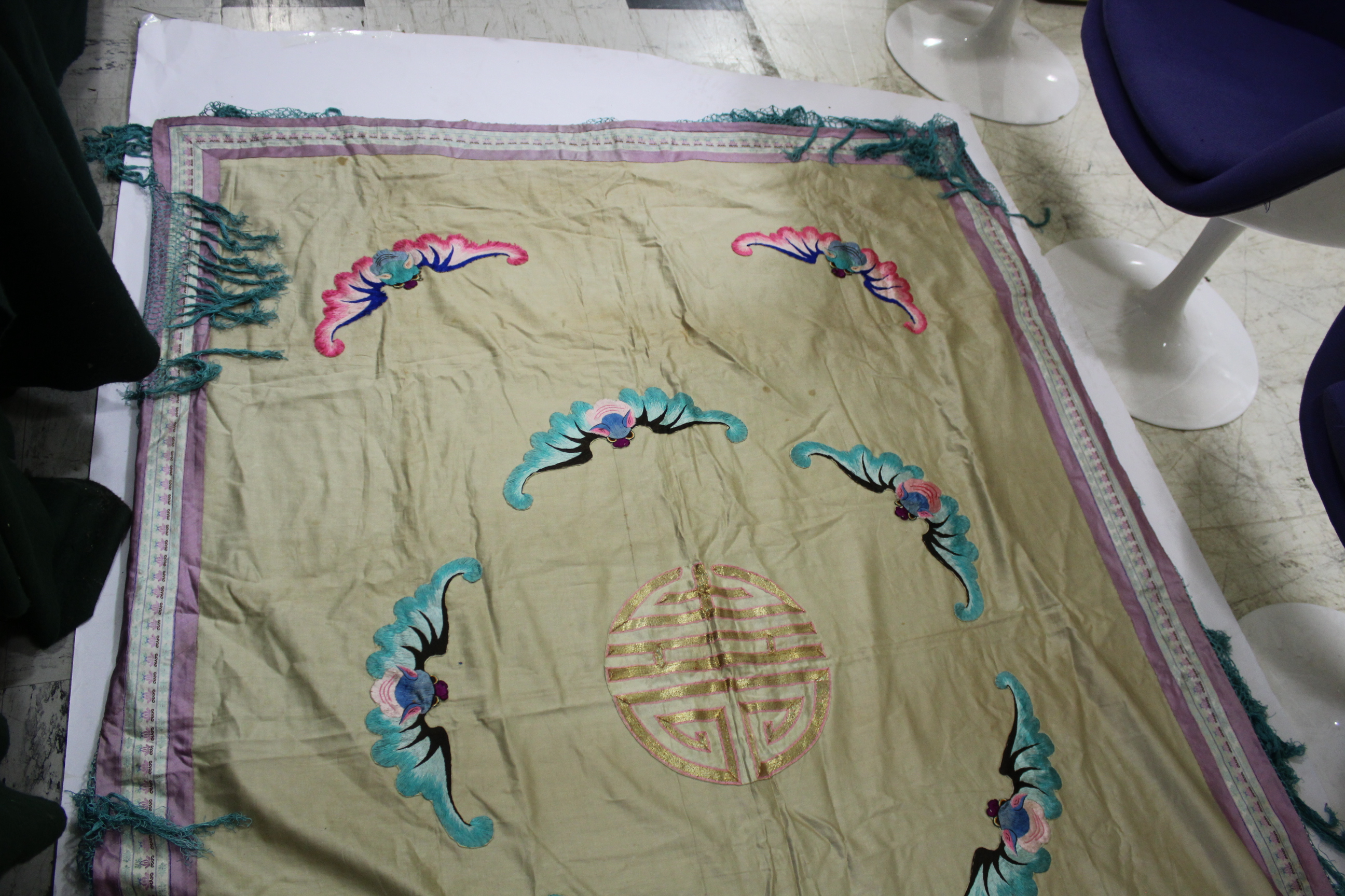 Lot 1882 - CHINESE SILK TABLE COVER an early 20thc large table cover embroidered with various brightly coloured