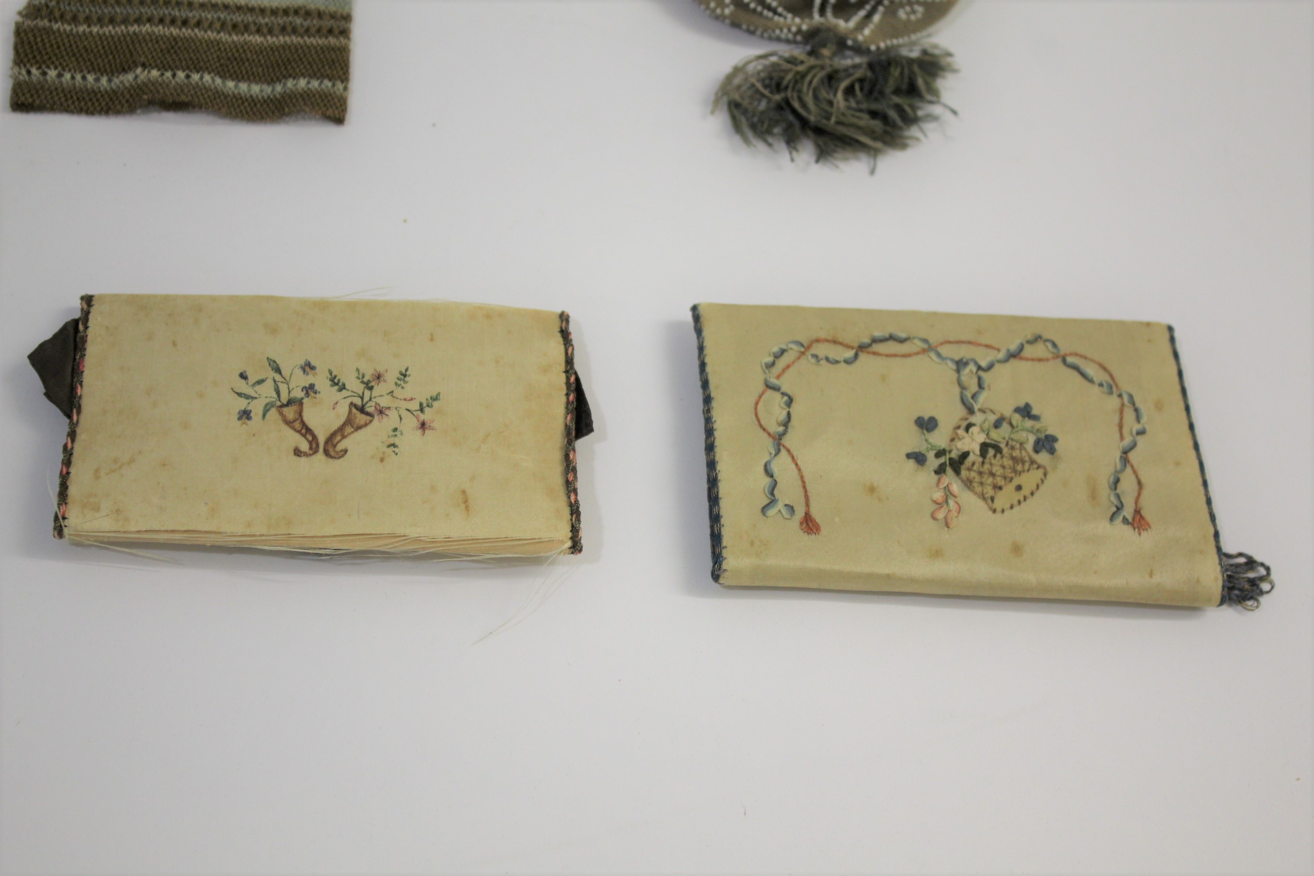 Lot 1859 - 18THC CARD CASES & PURSES an interesting group including 2 similar 18thc embroidered card cases, a