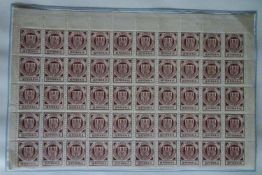 Stadtpost Lübeck Hansa, Teilbogen auf Papierbahn verklebt.Stadtpost Lübeck Hansa, partial sheet