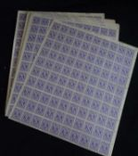 Bizone, 1945, AM-Post, amerikanischer Druck 3 Pf, 50 komplette postfrische Bögen (oben rechts) mit