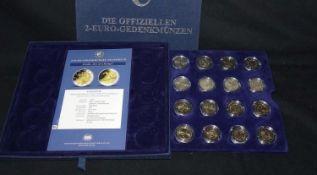 Europa - schönes Lot 2 Euro Münzen, meist unzirkuliert, insgesamt 16 Stück. Bitte besichtigen.Europe