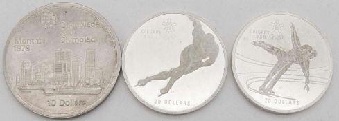 """Kanada 1976/88, 1 x 10 Dollars - Silbermünze 1976 """"Stadtansicht"""" und 2 x 20 Dollars - Silbermünzen"""