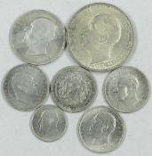 Lot Silbermünzen Bulgarien dabei 1 x 50 Stoniki 1913, 4 x 1 Lewa Stück, 1 x 2 Lewa 1912 sowie 1 x