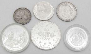 Lot Silbermünzen- und Medaillen. Erhaltung: pp bis vz. Lot of silver coins and medals. Condition: pp