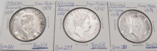 Nassau 1809 Konventionstaler Friedrich-Wilhelm.Replik 1000er Silber, Thun 221. Nassau 1818
