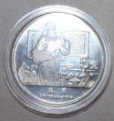 """China 1987, 5 Yuan - Silbermünze """"Bi Sheng"""". Silber 900. Gewicht: 22,2 gr.. In Kapsel. Erhaltung:"""
