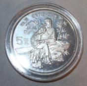 """China 1987, 5 Yuan - Silbermünze """"Du Fu"""". Silber 900. Gewicht: 22,2 gr.. In Kapsel. Erhaltung: PP."""