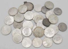 BRD 1960/2003, Lot Münzen, bestehend aus 14 x 5.- Deutsche Mark - Münzen. 12 x 10.- Deutsche