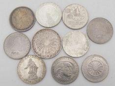 BRD Lot Münzen, bestehend aus 8 St 5.- Deutsche Mark und 1 x 10.- Deutsche Mark - Münzen. Dazu 25