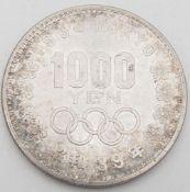 Japan 1964, 1000 Yen - Silbermünze. Erhaltung: vz.Japan 1964, 1000 yen - silver coin. Condition: