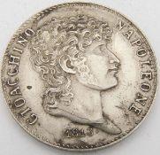 Italien - Königreich Neapel/Sizilien 1813, 5 Lire - Silbermünze Joachim Murat. Durchmesser: ca. 37