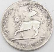 """Äthiopien Silbermünze """"Kaiser Menelik II. (1844-1913). Avers: Löwe von Juda. Durchmesser: ca. 40 mm."""