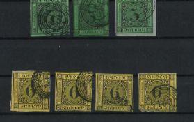 Altdeutschland Baden, 1853 - 1854, MI 6(3x), 7(4x), Freimarken Ziffer im Kreis, gestempeltBaden