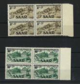 Saarland 1949, MI 262I 263II, Viererblock, Jugendherbergswerk, postfrischSaarland 1949, MI 262I