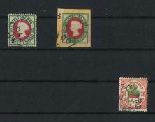 Schweiz 1855 MI 14c / 16b, Freimakren Königin Viktoria, gestempelt und Altdeutschland Helgoland Mi
