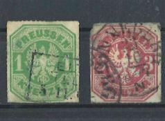 Altdeutschland preußen, 1865 - 1867, Mi Nr. 19a / 22, Preuß. Adler.gestempelt.Old Germany prussia,