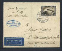Deutsches Reich, 1925 EF, MI 424, Mit Luftschiff befördert.German Reich, 1925 EF, MI 424,