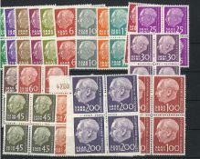 BRD, Saarland, 1957, MI 380 - 399, 4er Block, BPr. Heuss ohne Währungsbezeichnung, postfrischFRG,