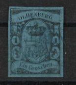 Altdeutschland Oldenburg, 1859 - 1861, Mi 6a, Freimarken, farbiges Papier, gestempeltOld German