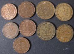 BRD 1949/68, Lot 1 und 5 Pfennig - Münzen, dabei: 5 Pfennig 1949 F, 1950 D, G, J, 1 Pfennig: 1949
