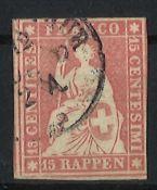 Schweiz 1854, MI 15 II, Berner Druck, gestempeltSwitzerland 1854, MI 15 II, Bernese print, stamped
