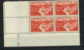 Saarland 1948, MI 252 / 252 Br, Vierer, mit Leerfeld und Druckdatum, postfrischSaarland 1948, MI