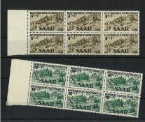 Saarland, 1949, MI 262I - 263II, 6er Block, Jugendherbergswerk, postfrischSaarland, 1949, MI