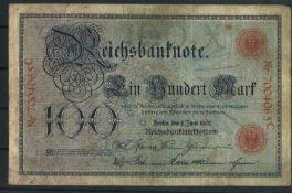 Deutsche Reichsbank 8.6.1907, Rosenberg Nr. 30, 100 Mark, Zustand IVGerman Reichsbank 8.6.1907,