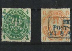 Altdeutschland Preußen 1861- 1865, MI 14b / 15a, Freimarken, Preuß. Adler, gestempeltOld Germany