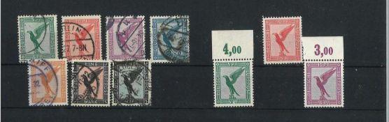 Deutsches Reich 1926, Mi 378 - 383, Flugpostmarken, gestempelt und MI 378 - A 329, Luftpostmarken,