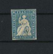 Schweiz 1854, MI 14 I, Münchner Druck, ungebrauchtSwitzerland 1854, MI 14 I, Munich printing,