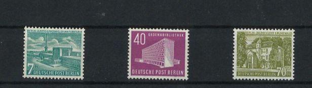 BRD Berlin, 1954, MI 121 - 123, Freimarken Berliner Bauten, postfrischBerlin, 1954, MI 121 - 123,